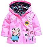 Cartoon Peppa Pig Flower Baby Girls Kids Rain Coat Jacket Coat Hoodie Outwear 4-5T Pink