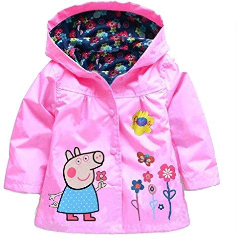 (Cartoon Peppa Pig Flower Baby Girls Kids Rain Coat Jacket Coat Hoodie Outwear 2-3T)