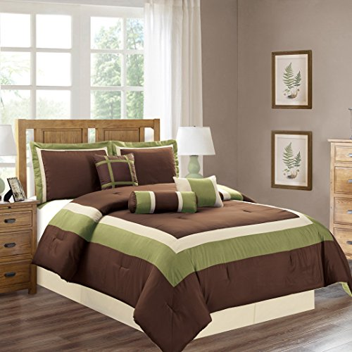 7 Piece KING Size SAGE GREEN / BROWN / BEIGE Color Block MILAN Goose Down Alternative Comforter set 104