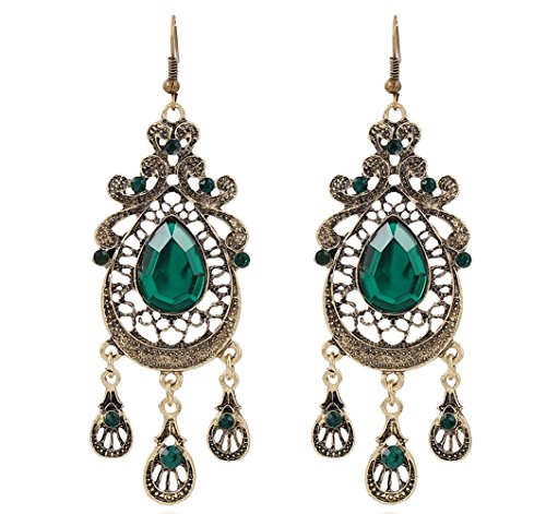 Hoxekle Lady Palace Retro Exaggerated Crystal Water Drop Alloy Tassel Long Earrings -Handmade Dangle Earrings Green