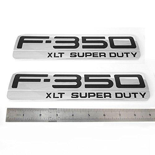 Sanucar 2x OEM F-350 XLT Super Duty Side Fender Emblems Badge 3D logo F350 XLT Pickup (Chrome black)