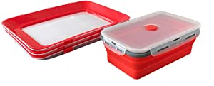 Creative food preservation seal tray with magic film lid for stretch and fresh,silicone food storage container with lids 1200ml - Food preservation tray (3pcs) + Silicone container 1200ml (1pcs)