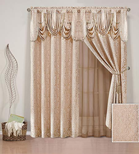 (Elegant Home Window Curtain Drapes All-in-One Set with Valance & Sheer Backing & Tassels for Living Room, Bedroom, Dining Room, and Sliding Doors - Cindy (Taupe))