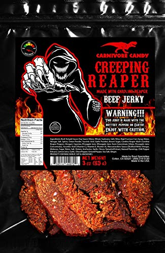 'Creeping Ghost' Carolina Reaper Jerky Beef Three - 3oz Bags The Reaper is the HOTTEST Pepper in the world! Sweet with Heat!