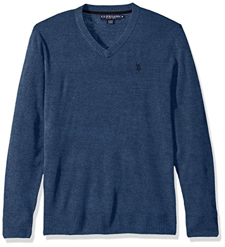 U.S. Polo Assn. Men's Solid V-Neck Sweater, Pacific Heather, Medium by U.S. Polo Assn.