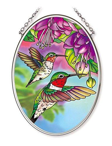 (Amia Hummingbird & Fuschia Glass Oval)