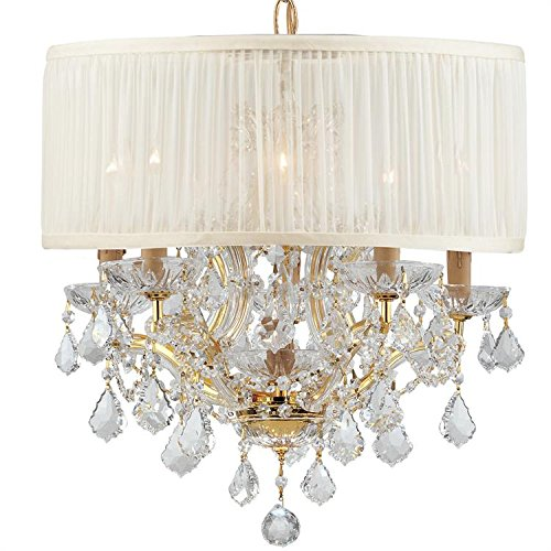 Cls Traditional Crystal Chandelier - Crystorama 4415-GD-SAW-CLS Brentwood - Six Light Mini Chandelier, Choose Finish: Gold, Shade Options: Silk Antique White