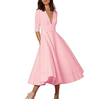 de1298053830 KingProst Tiefer V-Ausschnitt Maxikleid Frühjahr Sommer Damen Einfarbig  Swing Kleid Langes Sommerkleid Abendkleider Elegant Party Kleid  Cocktailkleid ...