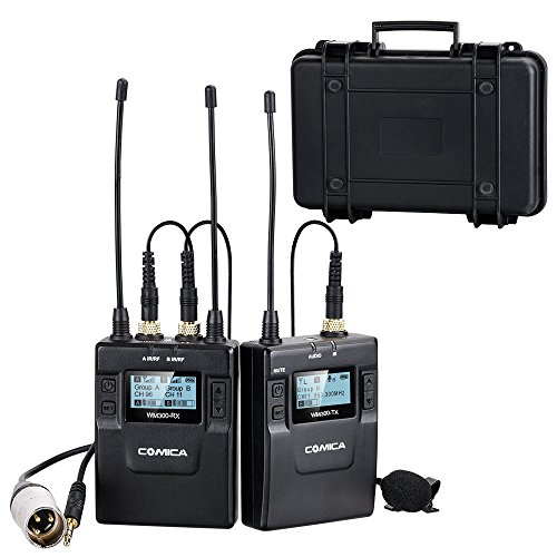 Comica CVM-WM300(C) 96-Channel Zinc Alloy UHF Professional Chargable Dual Wireless Lavalier Microphone System for Canon 5DII/5DIII,6D,Panasonic GH4/GH5,XLR Camcorder Camera& Smartphone(394-Foot (Xlr Wireless Mic)