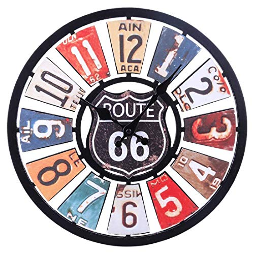 (34 cm Vintage Wall Clock, European and American Retro Route 66 Ultra-Quiet Art Wall Clock, Round Wall Decoration)