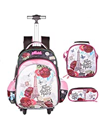 3Pcs Rolling Backpack for Girls with Lunch Bag Pencil Case School Bags Wheeled Backpack