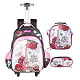 Meetbelify 3Pcs Rolling Backpack for Girls with Lunch Bag Pencil Case School Bags