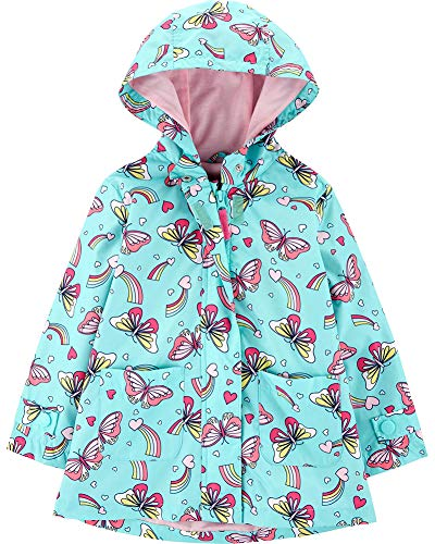 - Carter's Girls' Little Favorite Rainslicker Rain Jacket, Butterflies and Rainbows On Light Blue, 5/6