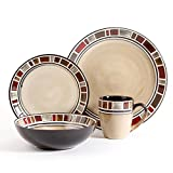 Gibson Elite 92918.16RM Cimarron Red 16 Piece Reactive Glaze Dinnerware Set, Cream/Red