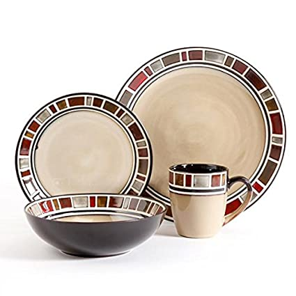 Gibson Elite Cimarron 16pc Dinnerware Set - service for 4 - includes 4 dinner plates -  sc 1 st  Amazon.com & Amazon.com | Gibson Elite Cimarron 16pc Dinnerware Set - service for ...