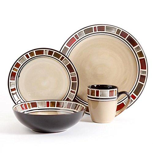 Gibson Elite Cimarron 16pc Dinnerware Set - service for 4 - includes 4 dinner plates - 4 dessert plates - 4 cereal bowls - 4 mugs  sc 1 st  Amazon.com & Dinner Plates Bowls Mugs: Amazon.com