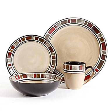 Gibson Elite Cimarron 16pc Dinnerware Set - service for 4 - includes 4 dinner plates - 4 dessert plates - 4 cereal bowls - 4 mugs