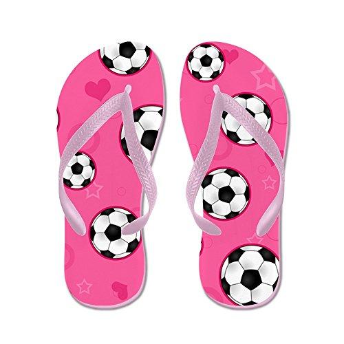 CafePress Cute Soccer Ball Print - Pink - Flip Flops, Funny Thong Sandals, Beach Sandals Pink