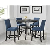 Roundhill Furniture P162BU Biony Dining Collection Espresso Wood Counter Height Set with Blue Fabric Nailhead Stools