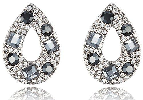 Tear Drop Rhodium Plated Post Earrings [Swarovski Element Crystals] ()