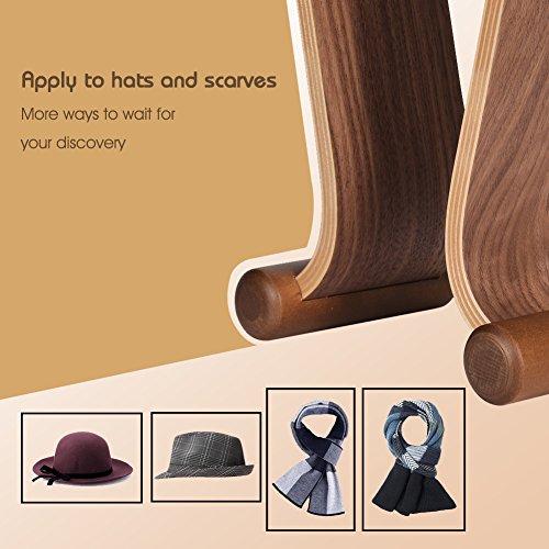 SAMDI Wood Headphone Stand, Headest Hanger Holder Mount Omega Walnut Finish for All Headphone Sizes