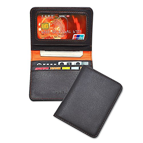 Mens Slim Wallet Genuine Leather Small Bifold Front Pocket Wallets ID Window RFID Brown … -