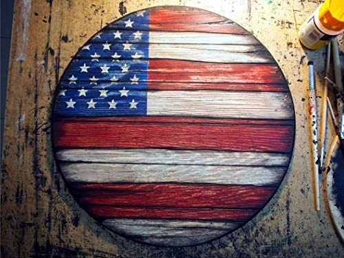 (American Flag painted on worn out wood | Rustic decor inspired by aged wine barrel tops | American Flag Wall Art | Handmade wood wall decor | Personalized signs)