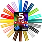 """Oracal 651 Choose Your Own Colors roll Pack 12"""" x 60"""" per roll w/Squeegee (5 Rolls)"""