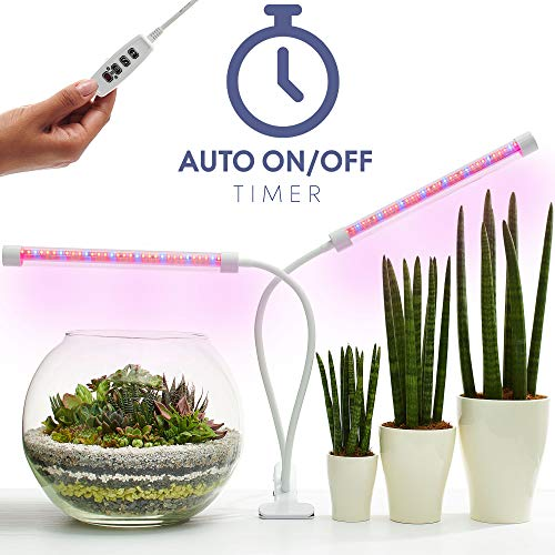 Plant Light - Auto Turn ON Version - 18W 64 LED Premium Waterproof Grow Lights for Indoor Plants - Red-Blue Spectrum Dual Head Dimmable Grow Lamp Bulbs with Timer - Adjustable Gooseneck[2019 Upgraded]