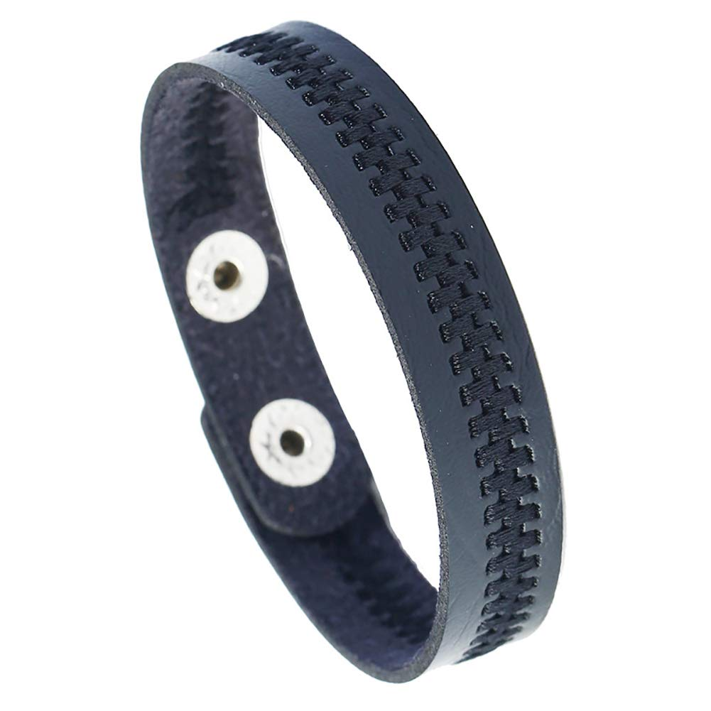 Angel3292 Simple Embroidery Zipper Faux Leather Unisex Couple Bracelet Bangle Jewelry Gift