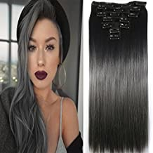 """Neverland Beauty 24""""Synthetic Straight Two Tone Ombre Hairpiece Hair Extensions Full Head Clip Black to Dark Grey"""