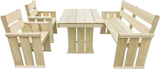 vidaXL Mesa Sillas de Jardín Madera Pino 4 Pzas Muebles Mobiliario Exteriores: Amazon.es: Hogar