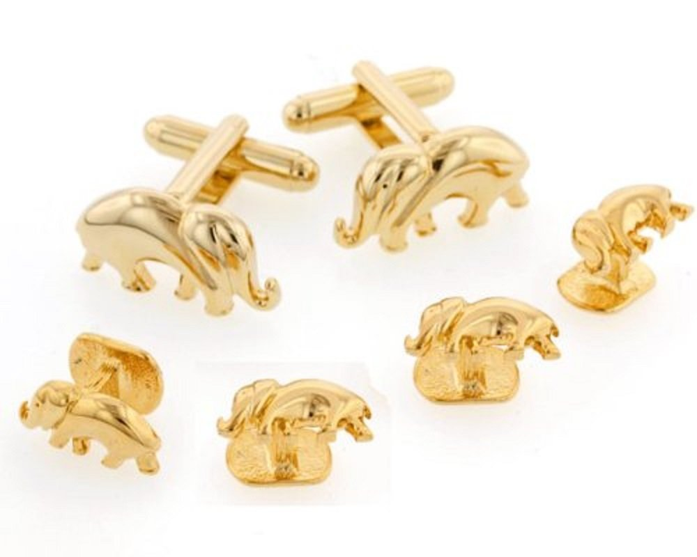 JJ Weston Elephant Tuxedo Cufflinks and Shirt Studs. Made in the USA.
