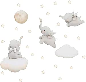 MASCARE Flying Elephant Wall Decal Animal with Cloud Moon Star Wall Sticker Dumbo Wall Art Decor for Kids Bedroom Baby Nursery Removable Home Background Decoration