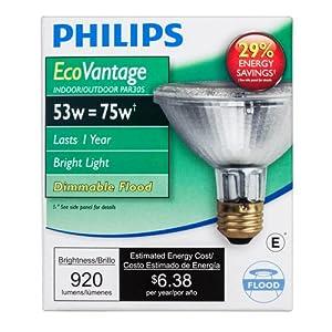 Philips Halogen Dimmable PAR30S Flood Light Bulb: 2860-Kelvin, 53-Watt (75-Watt Equivalent), Medium Screw Base