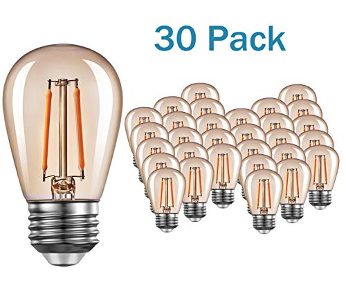 Edison Amber LED S14 Light Bulbs E26 1.5 Watt Warm 2200K Vintage Outdoor String Lights Bulb Great for Patios Wedding Decor Lighting 30 - Led 1.5w