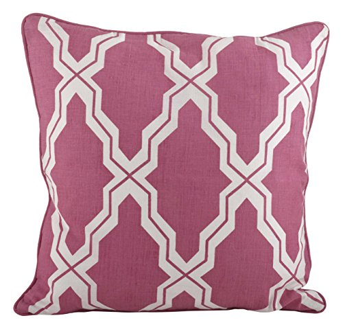 Sorbet Collection (SARO LIFESTYLE 914 Yasmina Collection Linen Blend Printed Moroccan Design Down Filled Throw Pillow, 18