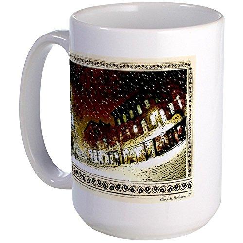 CafePress - Wintery Church St. Large Mug - Coffee Mug, Large 15 oz. White Coffee - St Church Vt Burlington