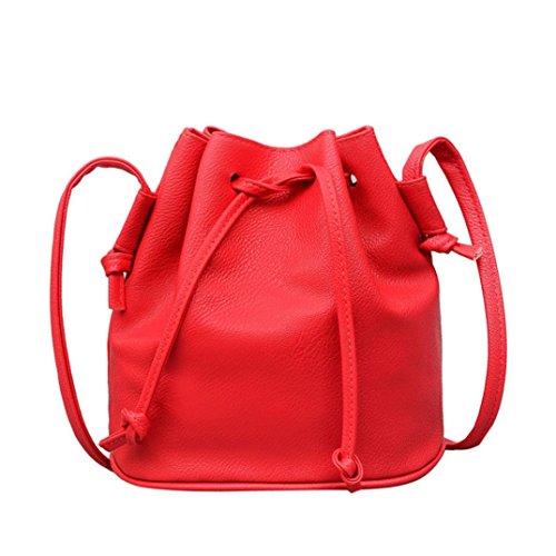 Shoulder Fashion Drawstring Color Messenger Pure Red Satchel Watermelon Bag Bag Women Bag Leather Purse Bucket xHYwrc0HqF