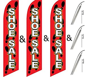 Three (3) Pack Swooper Flags & Pole Kits SHOE SALE Red Black Yellow with Shoe Steps