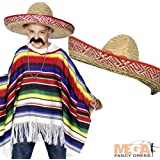 Mexican Poncho + Moustache + Hat Kids Fancy Dress Costume (Children One Size)