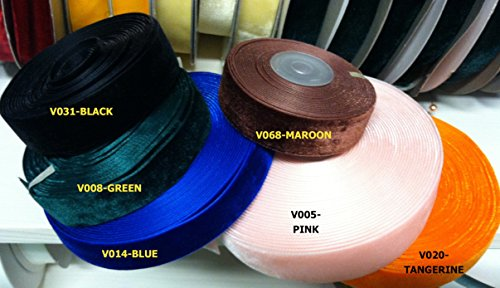 7/8 Velvet Ribbons- 5 Yards- 22 Colors (Black)