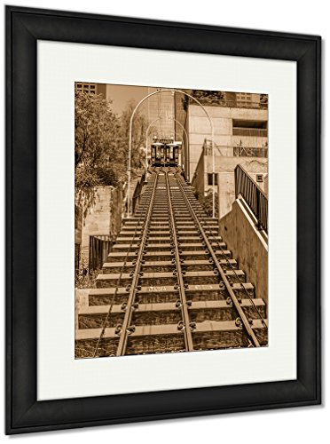 Photograph Los Angeles Angels (Ashley Framed Prints Angels Flight Railway System In Downtown Los Angeles California, Wall Art Home Decoration, Sepia, 40x34 (frame size), Black Frame, AG6440512)
