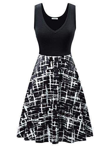 Petite Summer Dresses - GUBERRY Women's Sundress Sleeveless V Neck Summer Casual Work Petite Midi Dress