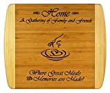 GIFT FOR FAMILY FRIEND HOUSEWARMING - Engraved 2-Tone Bamboo Cutting Board w/Free Stand ~ 2-Sided Design Engraved Side Designed For Décor, Reverse Side for Usage ~ Christmas Gift Birthday