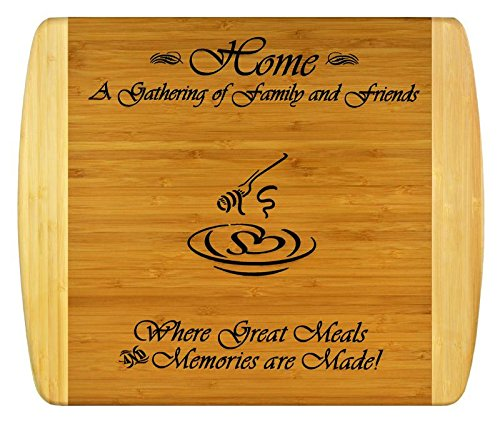 (GIFT FOR FAMILY FRIEND HOUSEWARMING ~ Personalized 2-Tone Bamboo Cutting Board w/ Free Stand ~ 2-Sided Design, Engraved Side Designed For Décor, Reverse Side for Usage ~ Christmas Gift Birthday Gift)