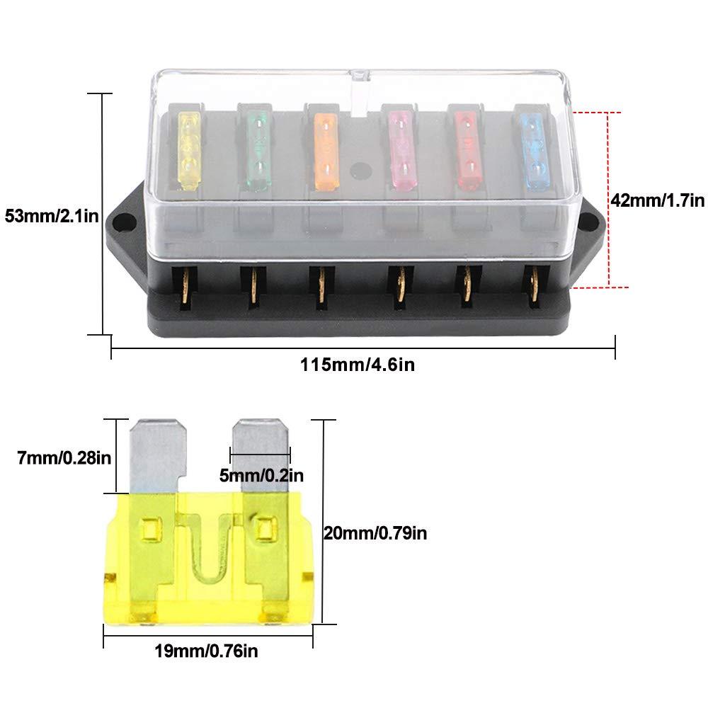 Universal Circuito Est/ándar Cuchilla Portafusibles 12V // 24V FULARR Premium 6 V/ías Caja de Fusibles para Coche Barco Marino Trike con 10Pcs Gratis Est/ándar Cuchilla Fusibles