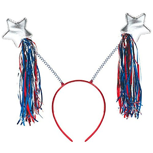 American Summer Fourth of July Stars Headbopper with Tinsel Accessory, Plastic, 10