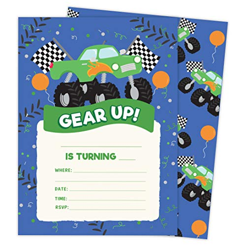Monster Truck Style 3 Happy Birthday Invitations Invite Cards (25 Count) With Envelopes & Seal Stickers Vinyl Girls Boys Kids Party (25ct)