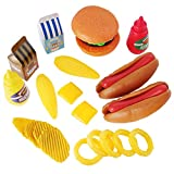 hamburger hot dog - Liberty Imports Burger & Hot Dog Fast Food Cooking Play Set for Kids with Chips and Onion Rings